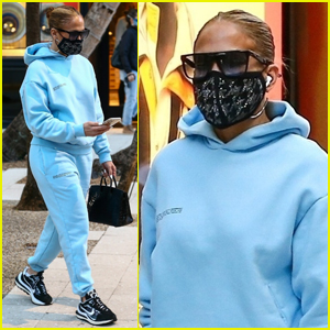 Jennifer Lopez Keeps Cozy in Baby Blue Sweats While Christmas Shopping