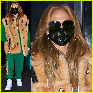 Jennifer Lopez Bundles Up in Green Sweatsuit for NYE Rehearsal