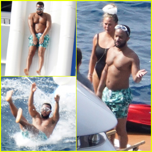Shirtless John Legend Slides Down a Yacht During Family Vacation with Chrissy Teigen!