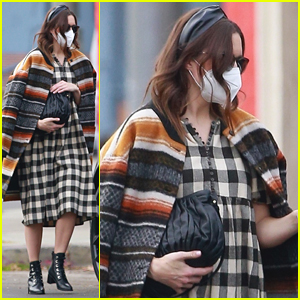 Mandy Moore Covers Up Baby Bump With Plaid Dress & Bold Striped Coat in LA
