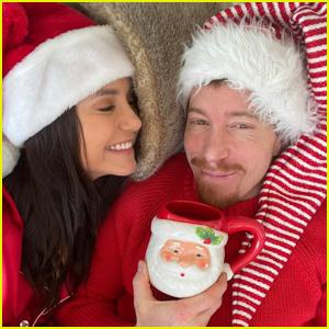 Nina Dobrev & Boyfriend Shaun White Twin in Santa Hats on Christmas