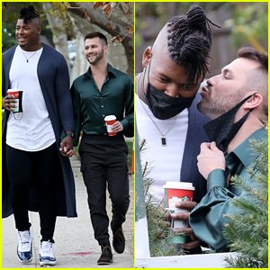 NFL Player Ryan Russell Gets a Kiss From Boyfriend Corey O'Brien While Shopping for a Christmas Tree!
