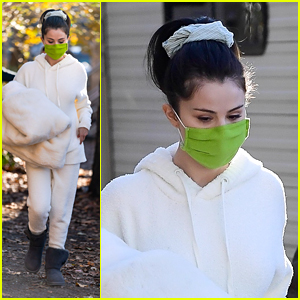Selena Gomez Gets Cozy in All White Look for 'Only Murders in the Building' Filming