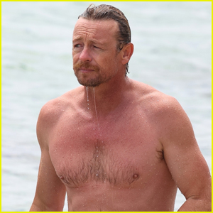 Simon Baker Looks Fit Going for a Dip in the Ocean!