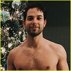 Skylar Astin Covers Up with Just a Present While Celebrating Chanukah in His Birthday Suit!