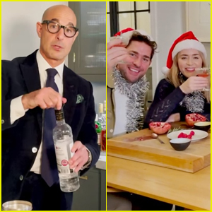 Stanley Tucci Makes Christmas Cocktails with Sister-in-Law Emily Blunt & John Krasinski - Watch Now!