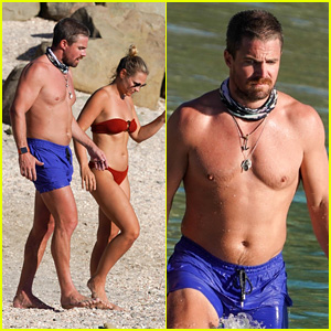 Stephen Amell Shows Off His Hot Body in St. Barts with Wife Cassandra Jean