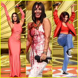 Vanessa Hudgens Celebrates Iconic 80s Movie Moments With Her Looks on Stage For MTV's Greatest of All Time Event