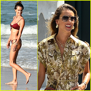 Alessandra Ambrosio Shows Off Toned Figure In Bikini After Workout On The Beach