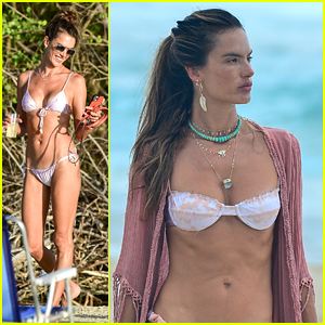 Alessandra Ambrosio Rocks Three Bikinis On The Beach in Brazil With Friends