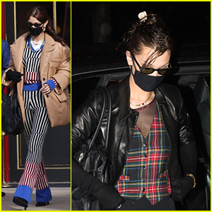 Bella Hadid Makes A Statement In Stripes While Out in Paris