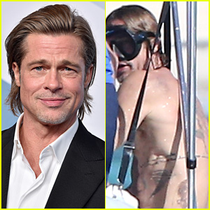 Brad Pitt Puts Back Tattoos on Display During Turks & Caicos Vacation