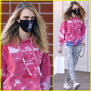 Cara Delevingne Goes Comfy in Tie-Dye Hoodie While Running Errands