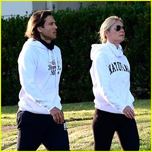Gwyneth Paltrow & Husband Brad Falchuk Kick Off The New Year with a Neighborhood Walk