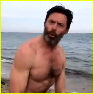 Hugh Jackman Does the Polar Bear Plunge on New Year's Day (Video)