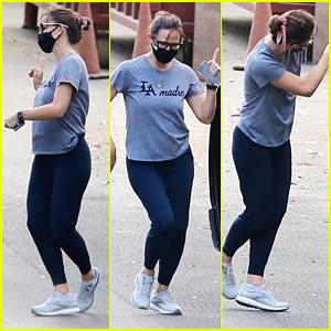 Jennifer Garner Dances In The Street While Running Errands in LA