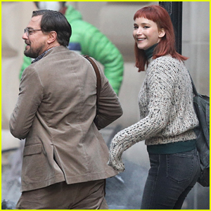 Jennifer Lawrence & Leonardo DiCaprio Share a Laugh on 'Don't Look Up' Set