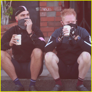 Jesse Tyler Ferguson & Husband Justin Mikita Stop for Coffee During Bike Ride