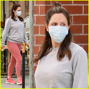 Pregnant Katharine McPhee Wears Cute Coral Leggings To Appointment in LA