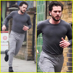 Kit Harington Goes for a Run in London