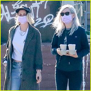 Kristen Stewart & Dylan Meyer Wear Matching Pink Face Masks During Coffee Run