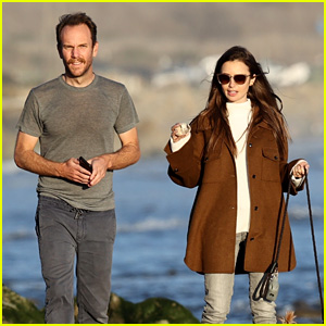 Lily Collins & Fiance Charlie McDowell Walk the Beach with Their Dog
