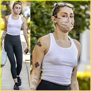 Miley Cyrus Goes Braless in See-Through Tank Top While Running Errands