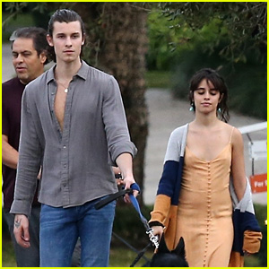 Shawn Mendes & Camila Cabello Walk the Dogs with Her Parents in Florida
