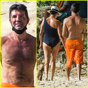 Simon Cowell Enjoys A Beach Day With Lauren Silverman in Barbados