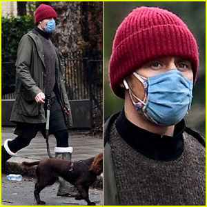 Tom Hiddleston Doubles Up with Masks While Taking His Dog for a Walk