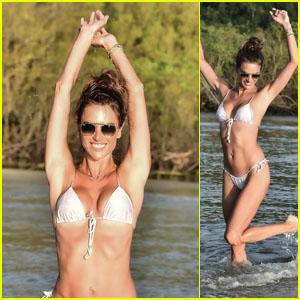 Alessandra Ambrosio Happily Splashes Around in a Bikini in Brazil