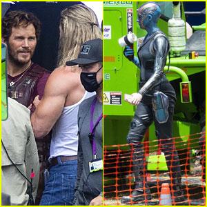 Chris Hemsworth & Chris Pratt Film 'Thor: Love & Thunder' as Thor & Star-Lord