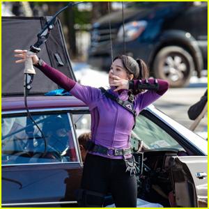 Hailee Steinfeld Takes Aim with Her Bow & Arrow on 'Hawkeye' Set