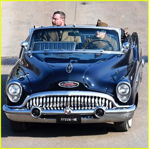Liev Schreiber & Josh Hutcherson Ride In Vintage Buick While Filming in Italy