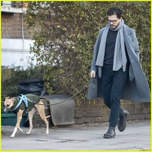 Kit Harington Walks His Whippet Dog Around London After Birth Of Son