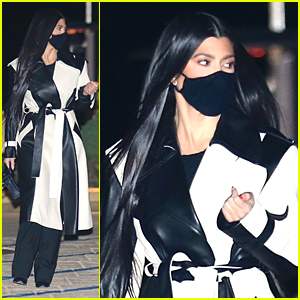 Kourtney Kardashian Stuns in Striking Black & White Coat For Dinner Out