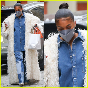 Lori Harvey Dons Dramatic White Coat in NYC After Celebrating Her First Valentine's Day With Michael B. Jordan