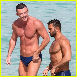 Luke Evans Shows Off His Buff Bod at the Beach With a Friend in Miami