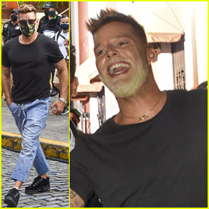 Ricky Martin Shows Off Bleached Beard While Filming New Music Video