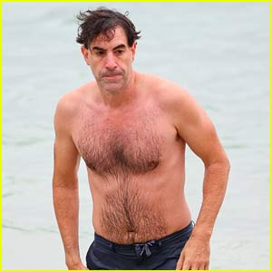 Sacha Baron Cohen Goes Shirtless for a Beach Day in Australia