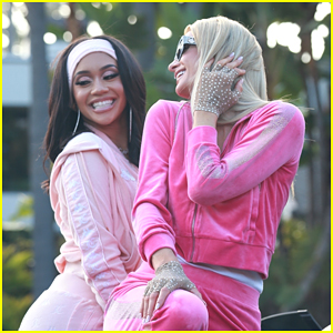 Paris Hilton & Saweetie Wear Juicy Couture Track Suits While Filming in Beverly Hills