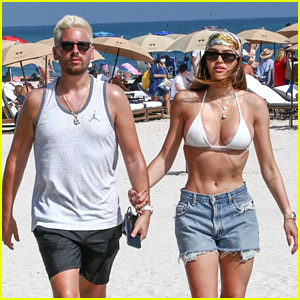 Scott Disick & Girlfriend Amelia Hamlin Flaunt PDA at the Beach on Valentine's Day