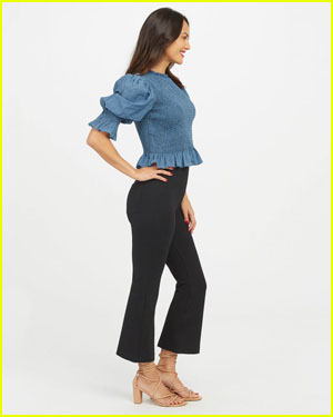 Woman wearing Spanx black pants