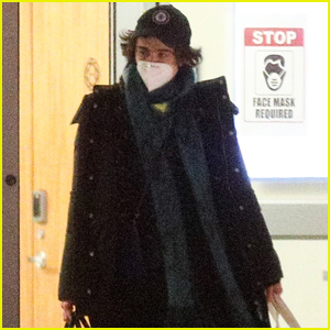 Timothee Chalamet Stays Safe in a Face Mask While Heading Out in Boston