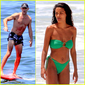 Vincent Cassel Goes Surfing During Beach Day with Wife Tina Kunakey
