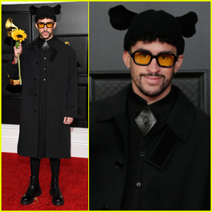 Bad Bunny Holds Up a Sunflower at Grammys 2021 Red Carpet