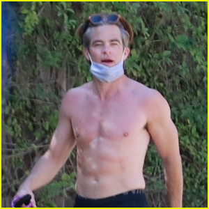 Chris Pine Shows Off His Buff Bod Shirtless on a Walk With His Dog