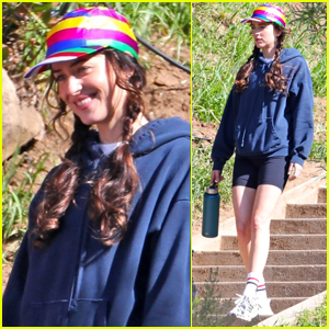 Dakota Johnson Sports Rainbow Hat & Biker Shorts on Set of 'Am I Ok?'