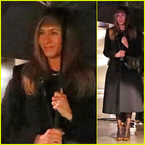 Jennifer Aniston Films in the Rain for 'The Morning Show'