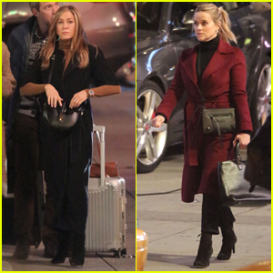 Jennifer Aniston & Reese Witherspoon Spend a Late Night on Set of 'The Morning Show'